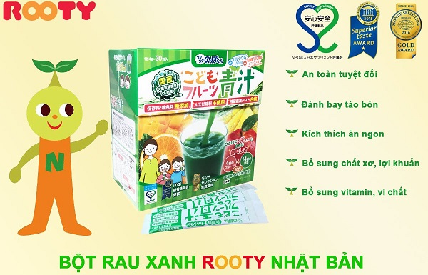 trẻ rối loạn tiêu hóa nên ăn gì và bột rau xanh rooty